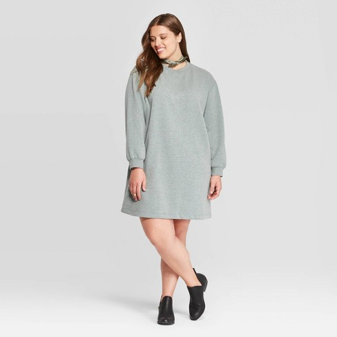Women\'s Plus Size Long Sleeve Crewneck Sweater Dress - Universal Thread™  Green 4X