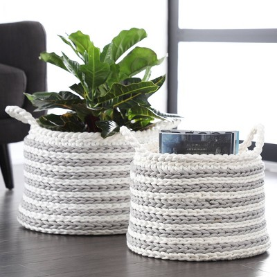 "Striped Storage Basket with Cotton Rope 12.5"" x 19"" White/Gray - Olivia & May"