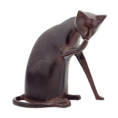 "8.5"" Tall Playful Metal Coy Siamese Cat Garden Figurine Dark Bronze Painted Finish - Achla Designs"