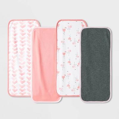 Baby Girls' 4pk Flamingo Burp Cloth - Cloud Island™ Coral