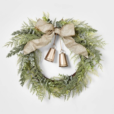 20in Unlit Cedar Eucalyptus with Gold Bells & Champagne Ribbon Bow Wreath - Wondershop™