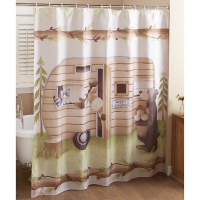 Lakeside Woodland Creatures Shower Curtain with with Camping Bear, Moose and Raccoon