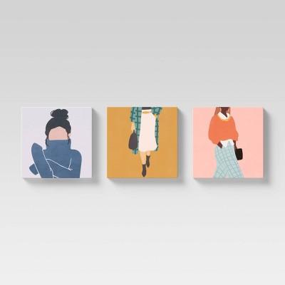 """(Set of 3) 12"""" x 12"""" Megan Unframed Canvas - Opalhouse™"""
