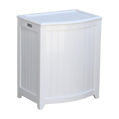 Oceanstar Bowed Front Laundry Wood Hamper with Interior Bag