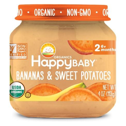 HappyBaby Fruit And Vegetable Snacks Bananas & Sweet Potatoes Baby Food - 4oz - image 1 of 2