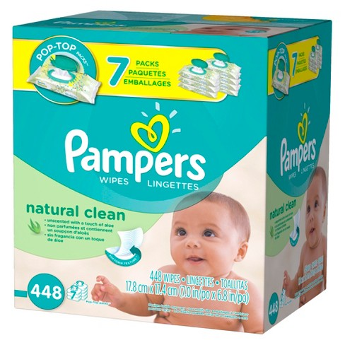 Pampers Natural Clean Baby Wipes 7x Pop-Top Pack - 448 ct - image 1 of 5