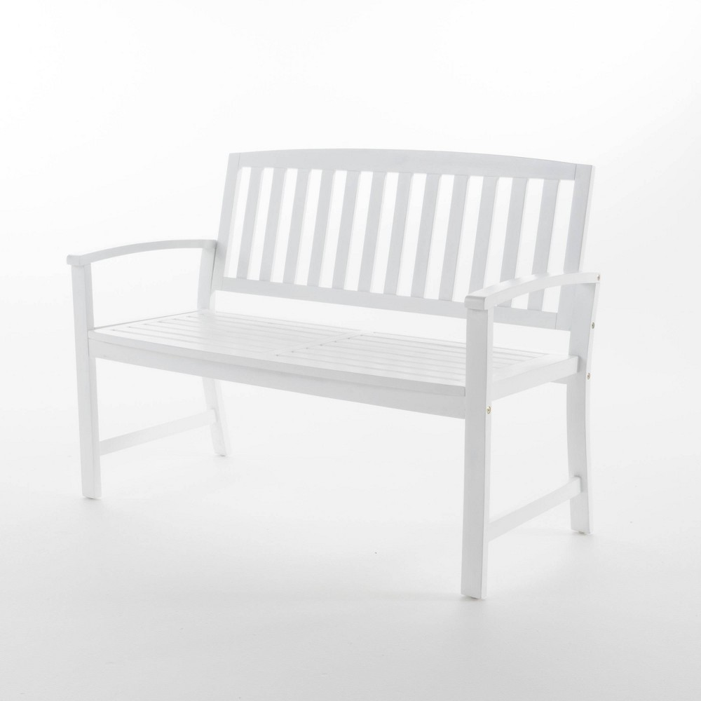 Loja Acacia Wood Patio Bench - White - Christopher Knight Home