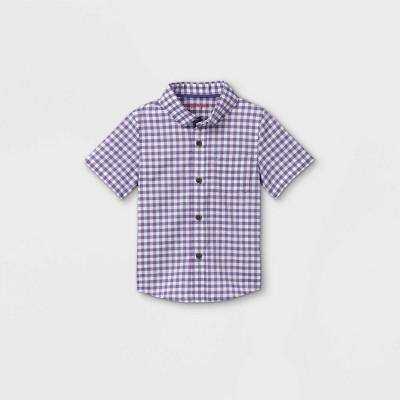 Toddler Boys' Gingham Poplin Woven Short Sleeve Button-Down Shirt - Cat & Jack™ Purple