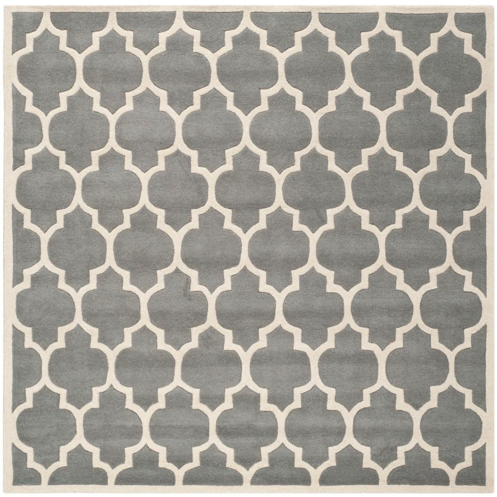 8 9 X8 9 Tufted Quatrefoil Design Square Area Rug Dark Gray Safavieh