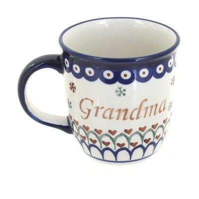 Blue Rose Polish Pottery Grandma Coffee Mug