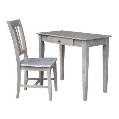 Small Desk with Drawer and Chair Washed Gray/Taupe - International Concepts