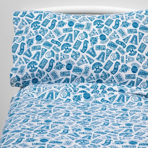 Queen Goal Getter Flannel Sheet Set - Pillowfort™ - image 1 of 4