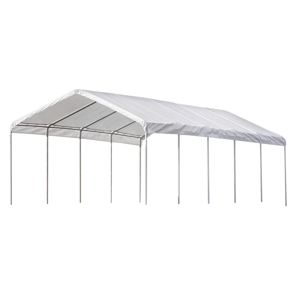 Super Max 12' X 30' 6 Rib Canopy - White Cover - Shelterlogic