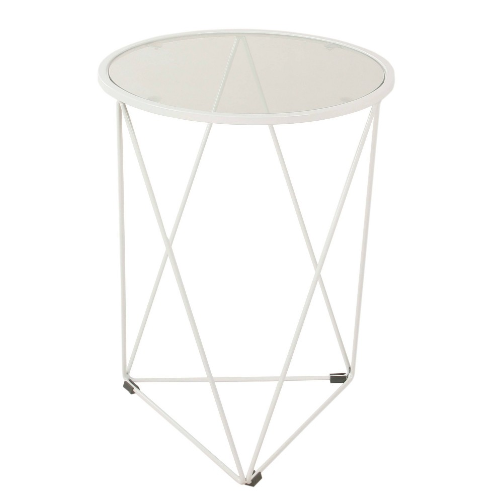 Metal Accent Table with Triangle Base and Round Glass Top White - HomePop was $74.99 now $56.24 (25.0% off)
