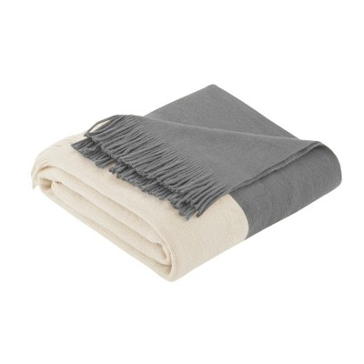 60 x50  Color Block Faux Cashmere Throw Blanket Gray