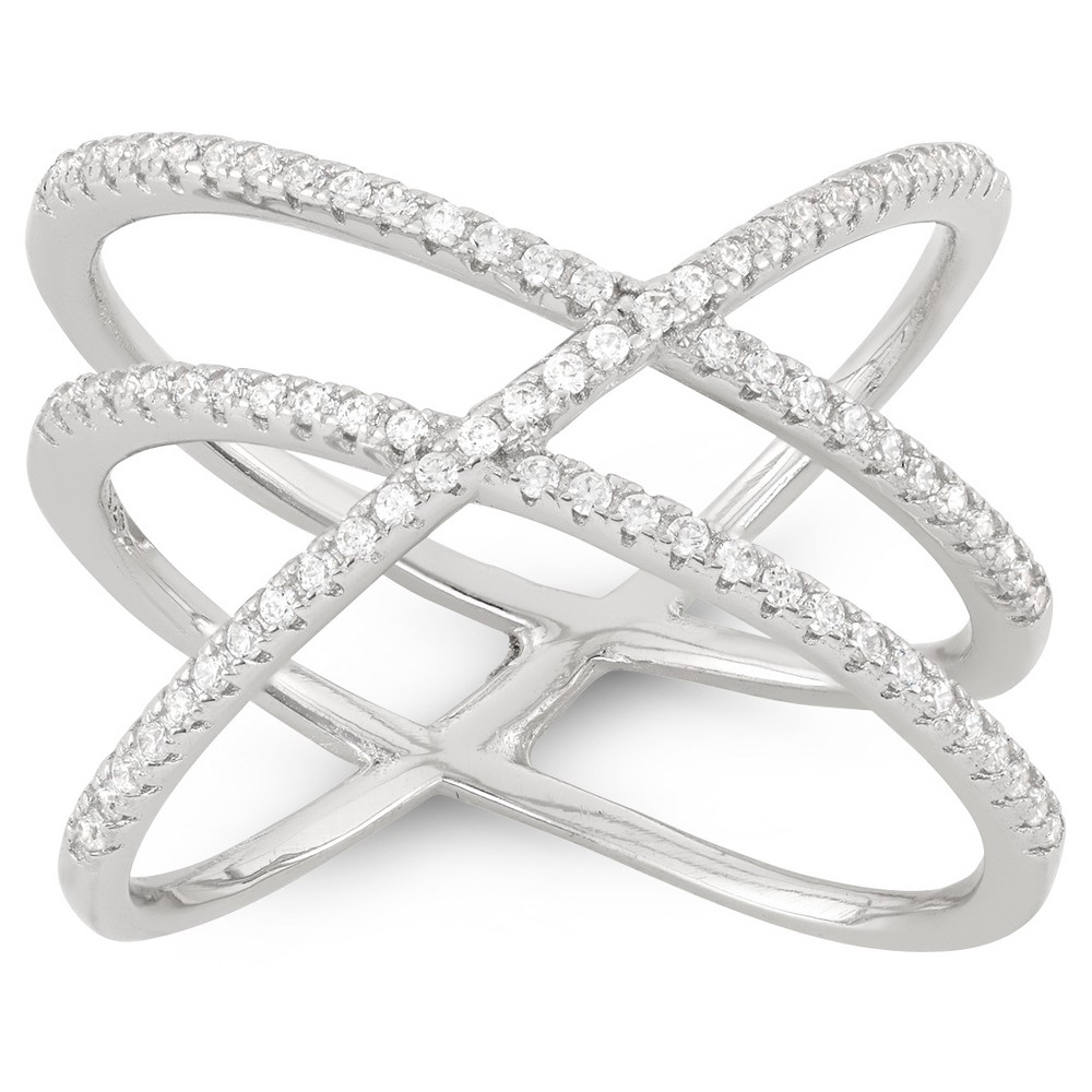 0.4 CT. T.W. Double Cross-over X Ring In Sterling Silver - (7), Girl's