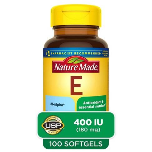Nature Made Vitamin E 180 mg (400 IU) dl - Alpha Softgels - 100ct - image 1 of 4