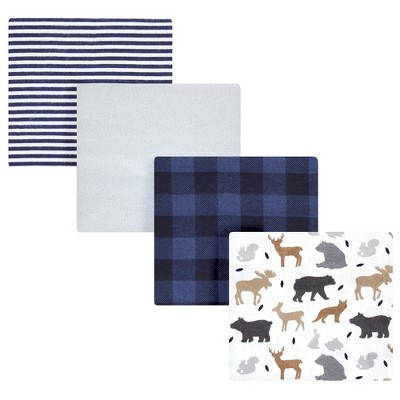 Hudson Baby Infant Boy Cotton Flannel Receiving Blankets, Woodland Silhouette, One Size