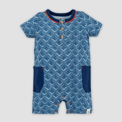 Burt's Bees Baby® Baby Boys' Organic Cotton Through the Maze Henley Romper - Blue 0-3M