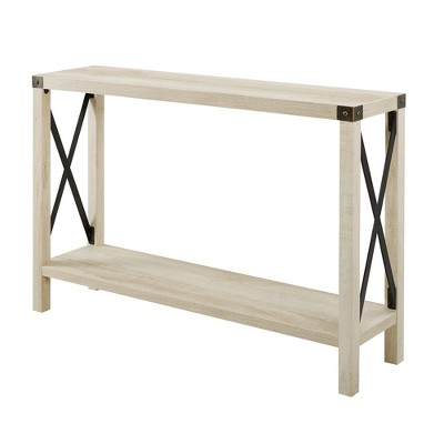 46  Urban Industrial Farmhouse Metal X Entry Table White Oak - Saracina Home