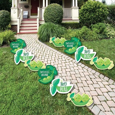 Big Dot of Happiness Double the Fun - Twins Two Peas in a Pod - Pea Lawn Decor - Outdoor Baby Shower or 1st Birthday Party Yard Decorations - 10 Piece