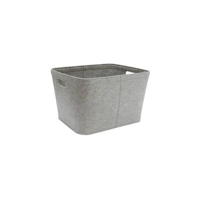 Medium Oatmeal Basket with Stitching & Cutout Handlesize Gray - Project 62™