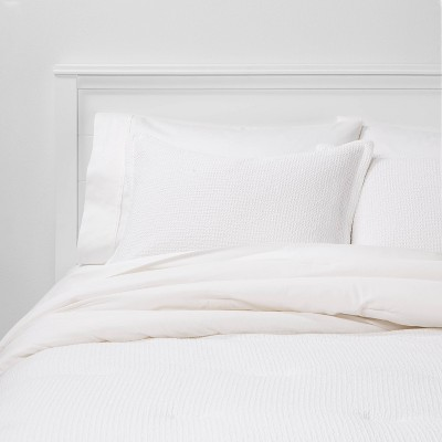 King Washed Waffle Weave Comforter Set White - Threshold™