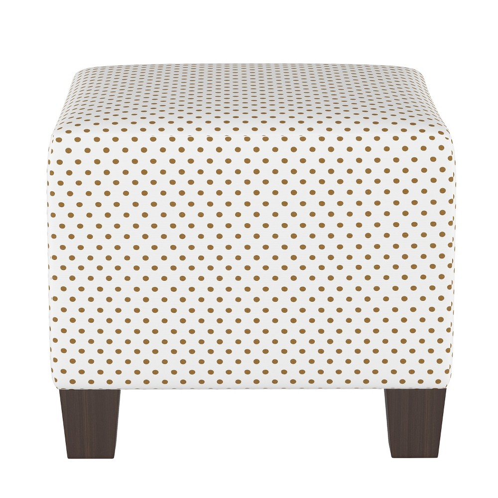 Image of Kids Square Ottoman Gold Dots - Pillowfort