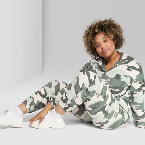 e1a29d90a73b1 Women's Plus Size Jogger Camo Print Vintage Sweatpants - Wild Fable™ Green  : Target