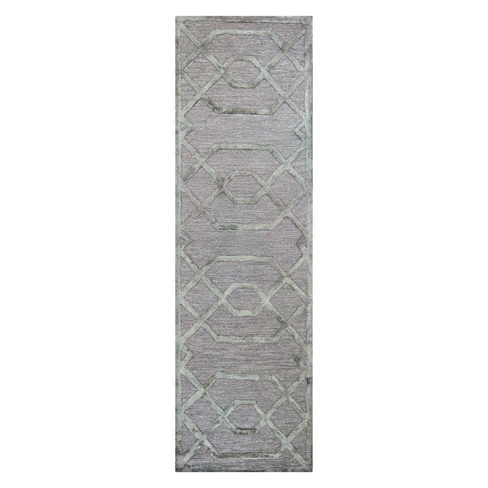 Silver/Gray Geometric Trellis Runner (2'6x8' Runner) - Rizzy Home, Silver Gray