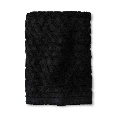 Triangle Embossed Woven Bath Towel Black - Threshold™