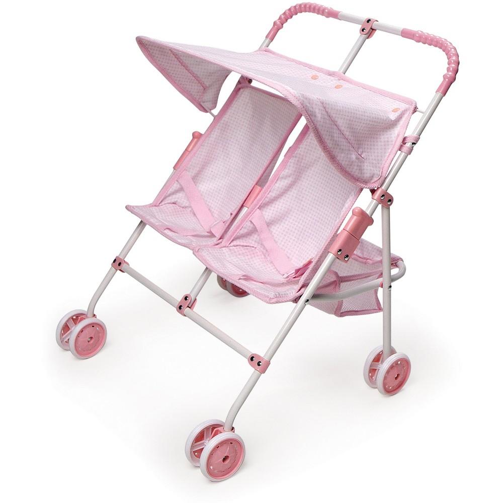 Badger Basket Double Doll Side-by-Side Umbrella Stroller - Pink & White Gingham