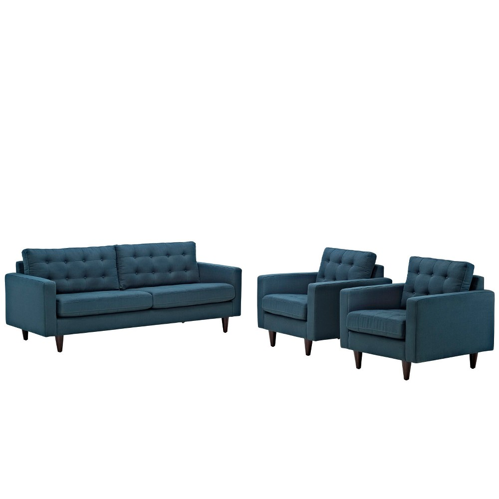 Empress Sofa and Armchairs Set of 3 Azure (Blue) - Modway