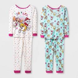 Toddler Girls' 4pc PAW Patrol Pajama Set - White
