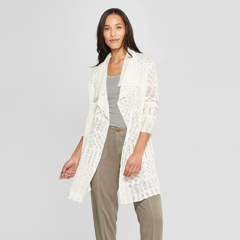 Women's Long Sleeve Open-Front Pointelle Cardigan - Knox Rose™ White M - image 1 of 2
