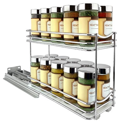 "Lynk Professional Slide Out Double Spice Rack Upper Cabinet Organizer - 4"" Wide"