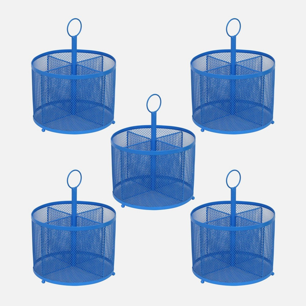 5ct Wire Mesh Supply Caddies Blue - Bullseye's Playground was $25.0 now $12.5 (50.0% off)