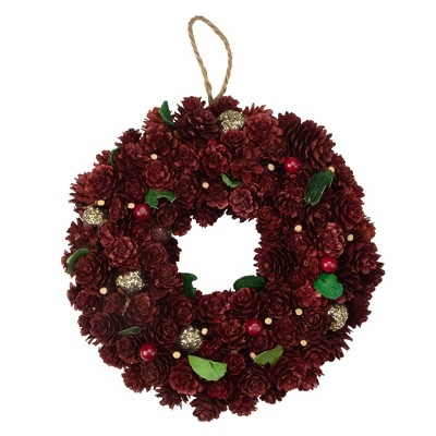 "Northlight 9.5"" Unlit Wine Burgundy/Gold Glitter Pine Cone Artificial Christmas Wreath"