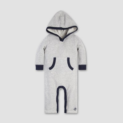 Burt's Bees Baby® Baby Boys' Loose Pique Hooded Coverall - Heather Gray 3-6M