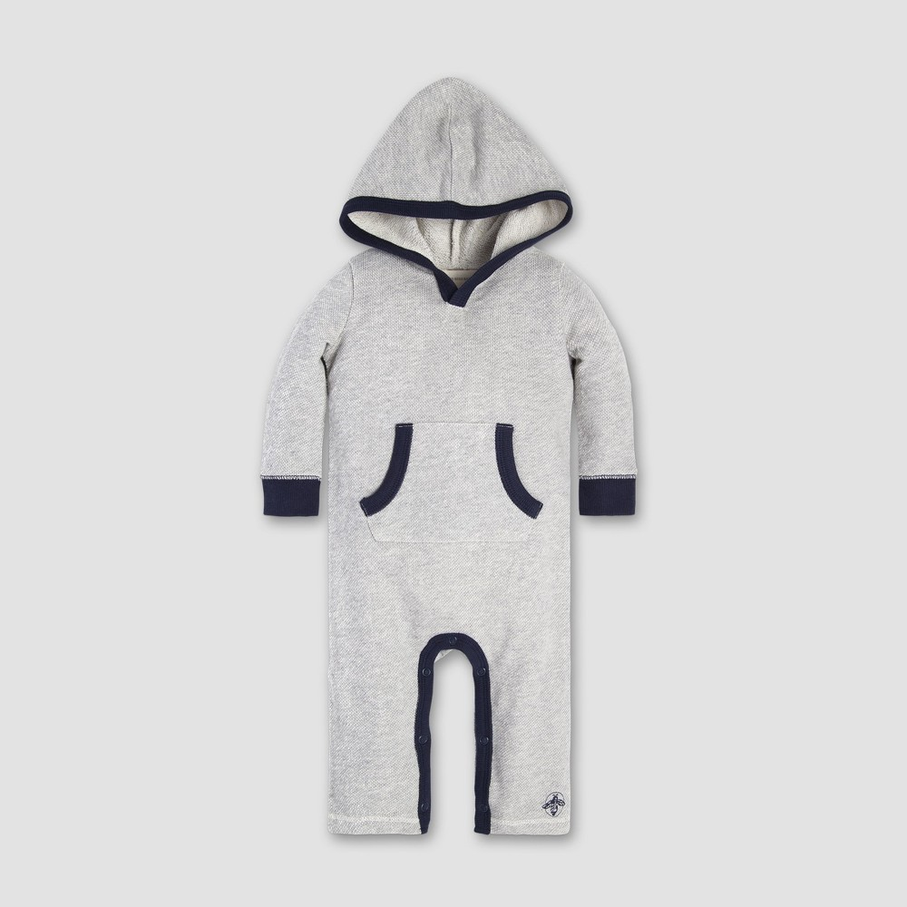Burt's Bees Baby Baby Boys' Loose Pique Hooded Coverall - Heather Gray 18M