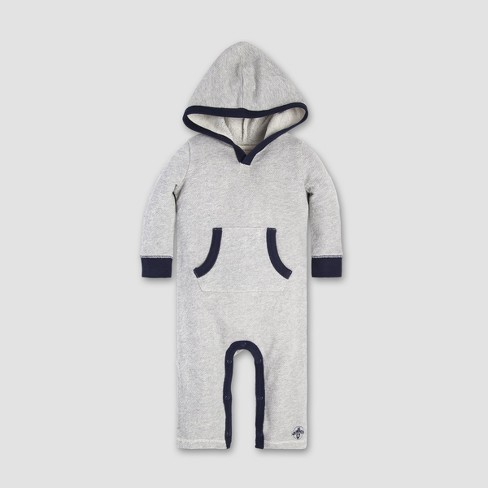 Burt's Bees Baby® Baby Boys' Loose Pique Hooded Coverall - Heather Gray - image 1 of 2