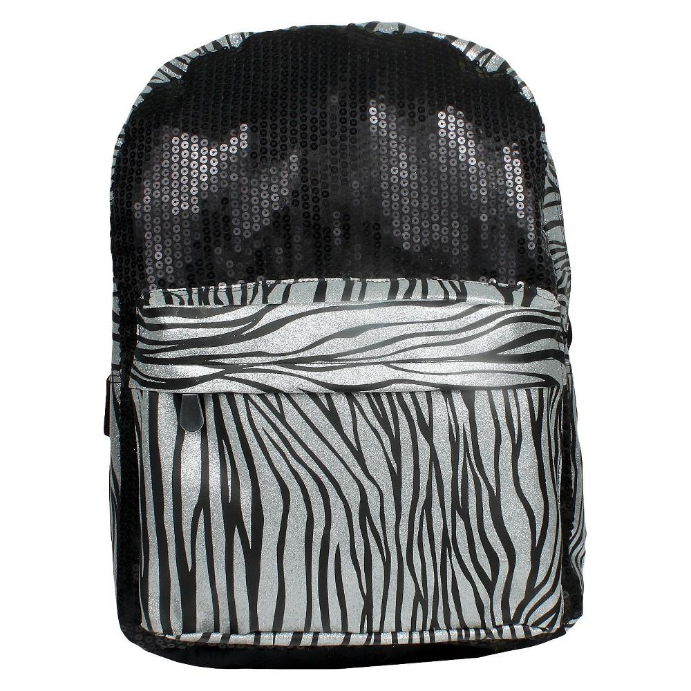 Image of Accessory Innovation 16 Zebra Print Backpack - Black, Black/Shiney Silver