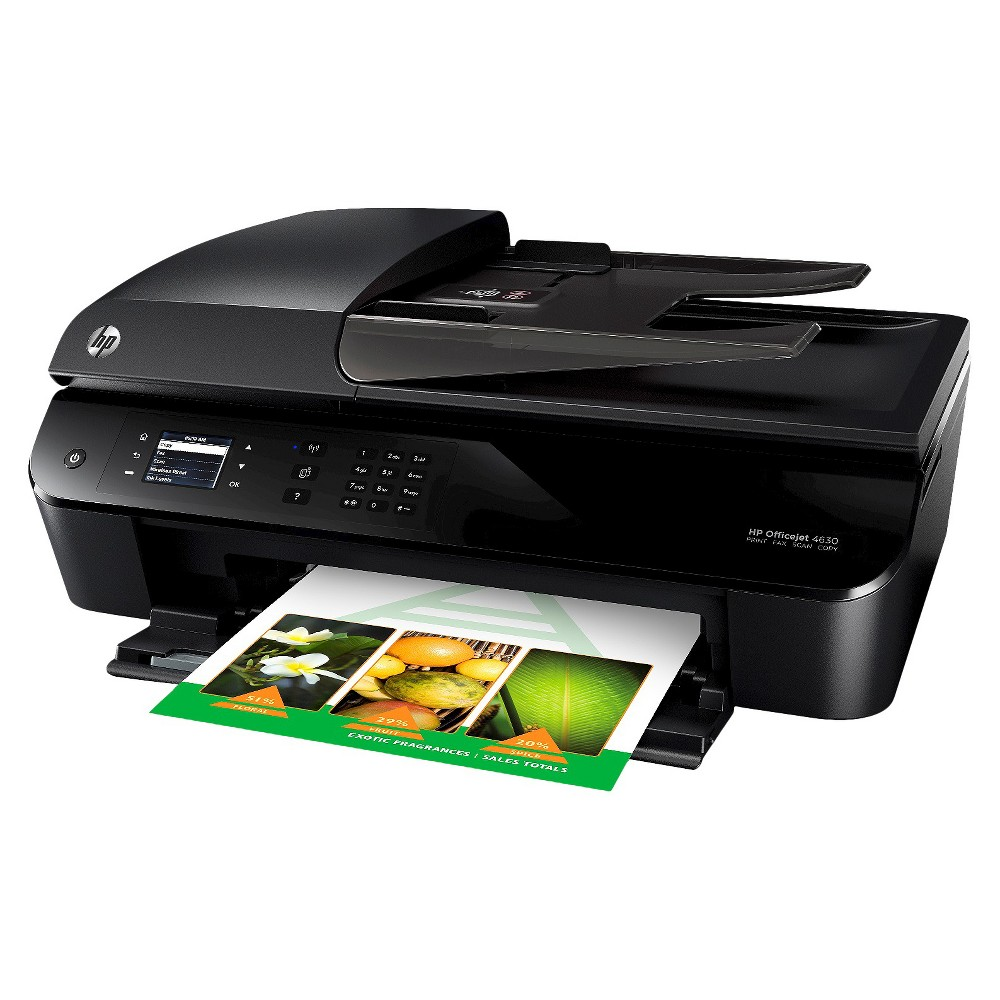 HP OfficeJet 4630 AiO Printer - Black (B4L03A_B1H) The HP Officejet 4630 e-All-in-One Color Multifunction Inkjet Printer in Black is a great choice for home offices and students. This Wi-Fi enabled printer functions as a Copier, Scanner, Fax, Printer, Photo Printer and Photo Scanner. It boasts a plethora of fancy features including Borderless Photo Prints, Automatic Document Feeder, Resize-to-Fit Button, Photo Quality Print, Flatbed Design, Dual Paper Trays, Automatic 2-Sided Printing and Lcd Color Display Screen. It's pretty awesome.