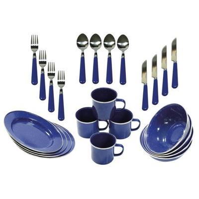 Stansport Enamel Camping Tableware Set - Blue