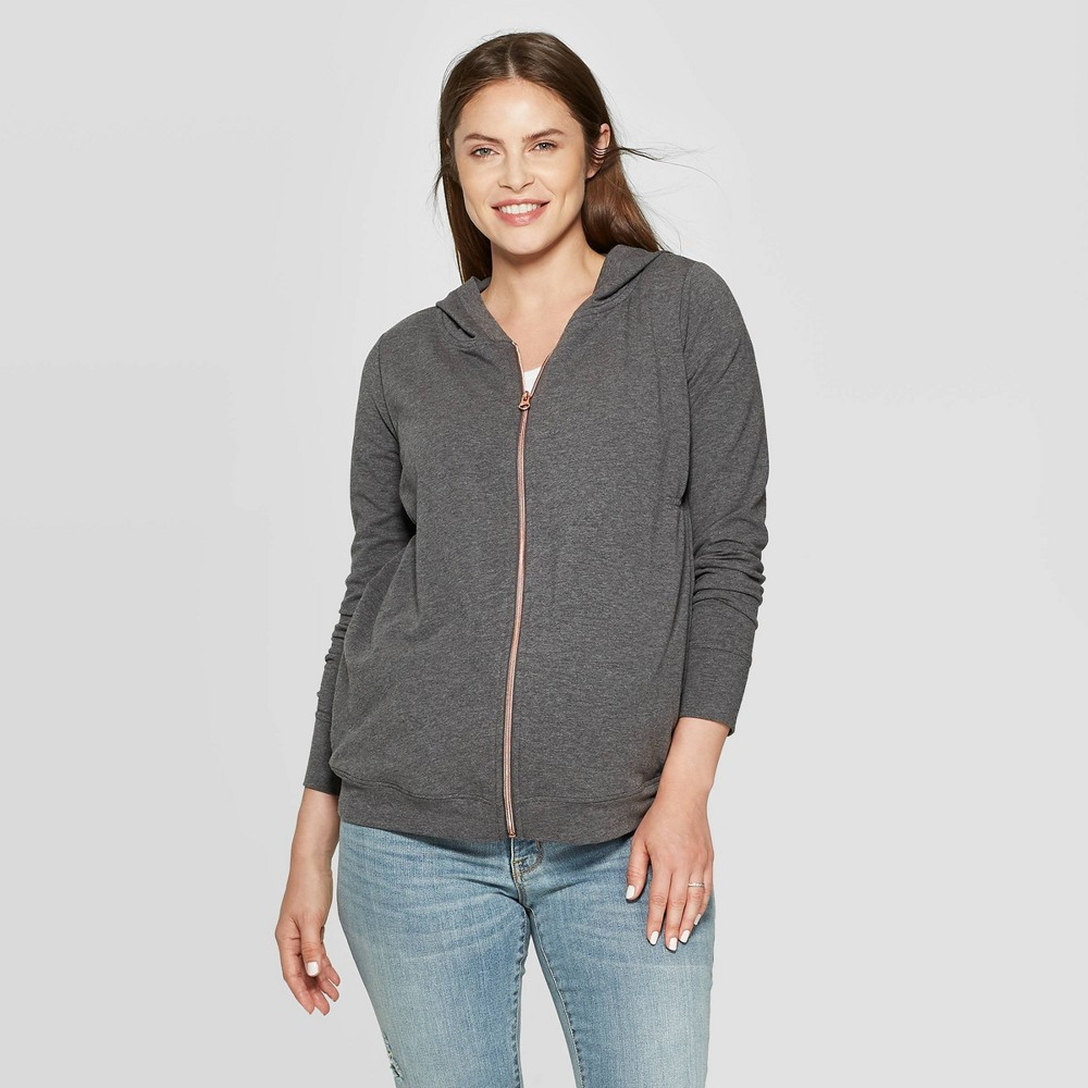Maternity Zippered Hoodie Sweatshirt Isabel Maternity By Ingrid 38 Isabel 8482 Charcoal Heather L