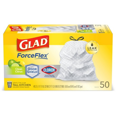 Glad ForceFlex Tall Kitchen Drawstring White Trash Bags - Clean Citrus Scent - 50ct - image 1 of 4