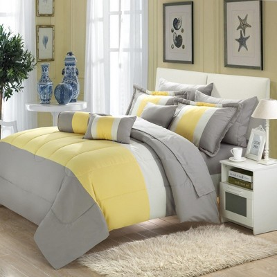 Chic Home Serenity Yellow & Grey Microfiber Soft & Elegant Comforter Bed In A Bag Set 10 Piece