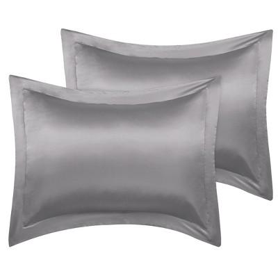 2 Pcs Standard Silk Satin for Hair and Skin Pillowcase Grey - PiccoCasa