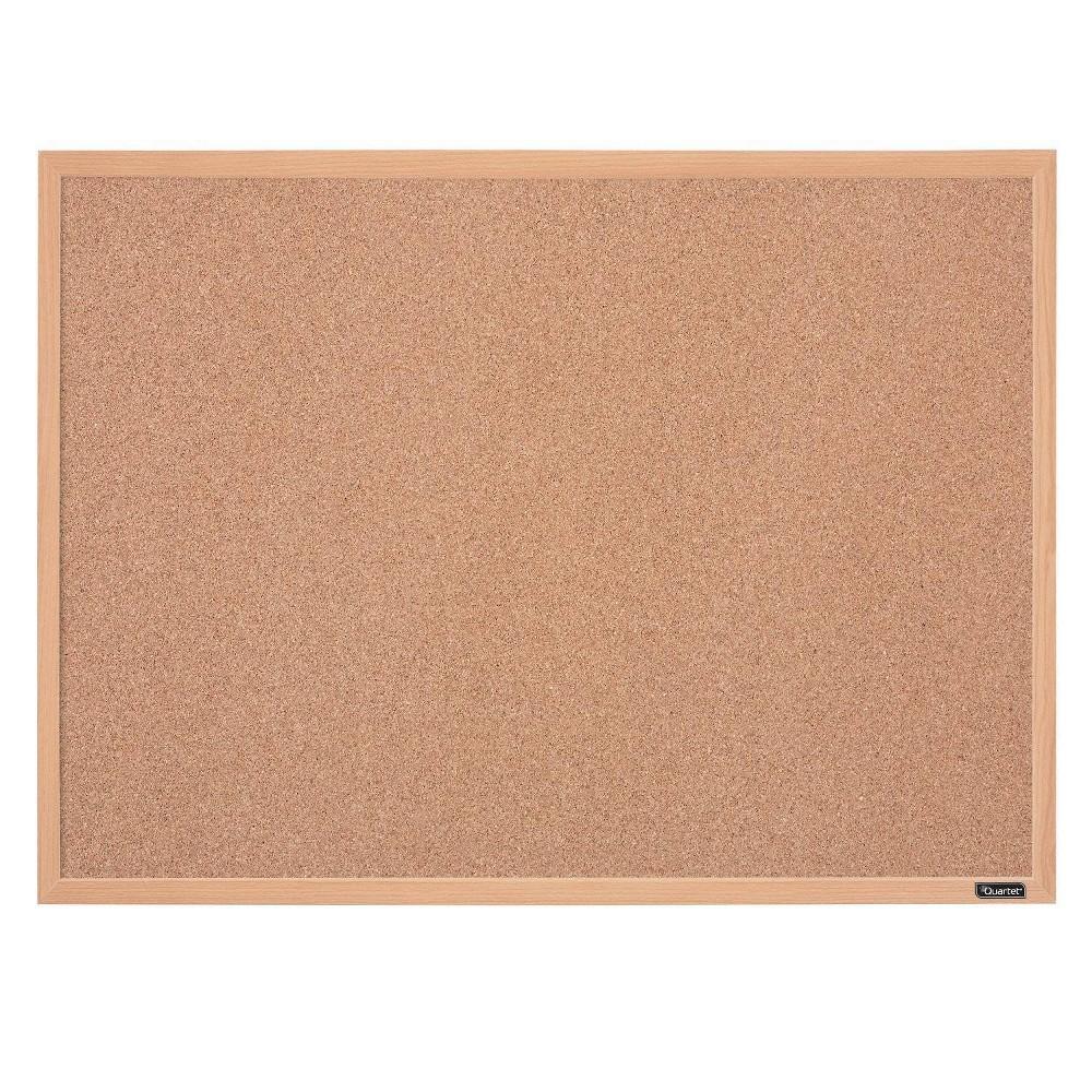 "Image of ""Quartet 17"""" x 23"""" Cork Bulletin Board Finish Frame - Oak, Brown"""