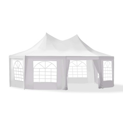 Outsunny 22' x 16' ft Canopy Party Event Tent with 2 Pull-Back Doors Column-Less Event Space & 8 Cathedral Windows